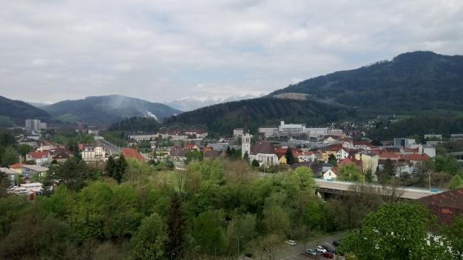 Aussicht vom Turm der Massenburg nach Waasen und Donawitz